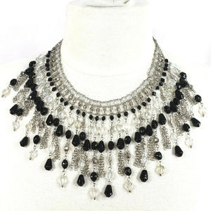 Chico's Statement Necklace Black White Glass Beads